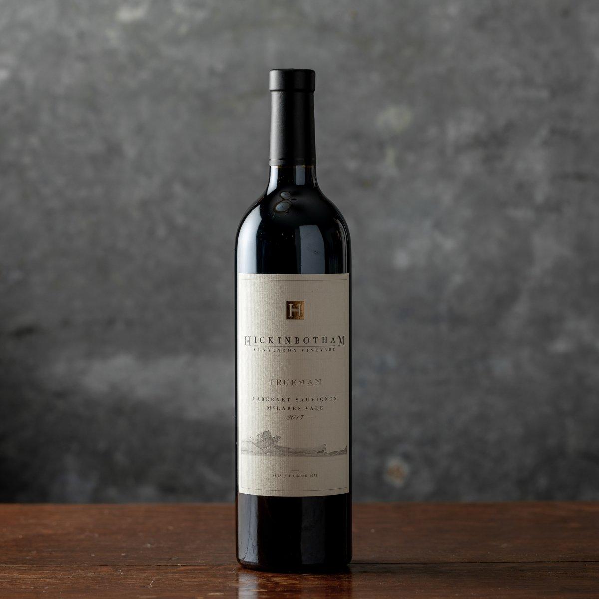 Wine bottle of Trueman Cabernet Sauvginon against a gray backdrop
