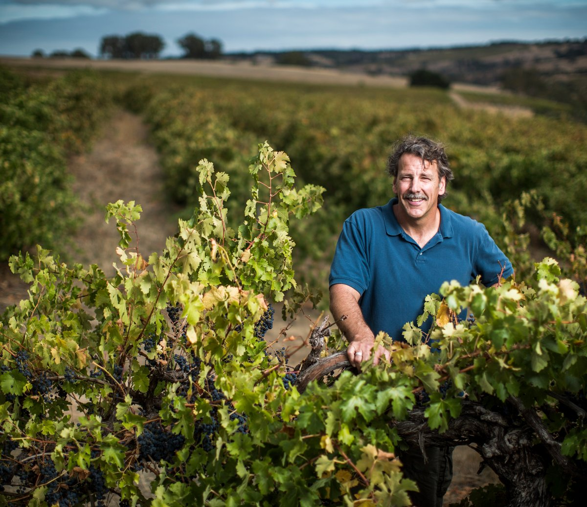 Christopher Carpenter standing in a vineyard