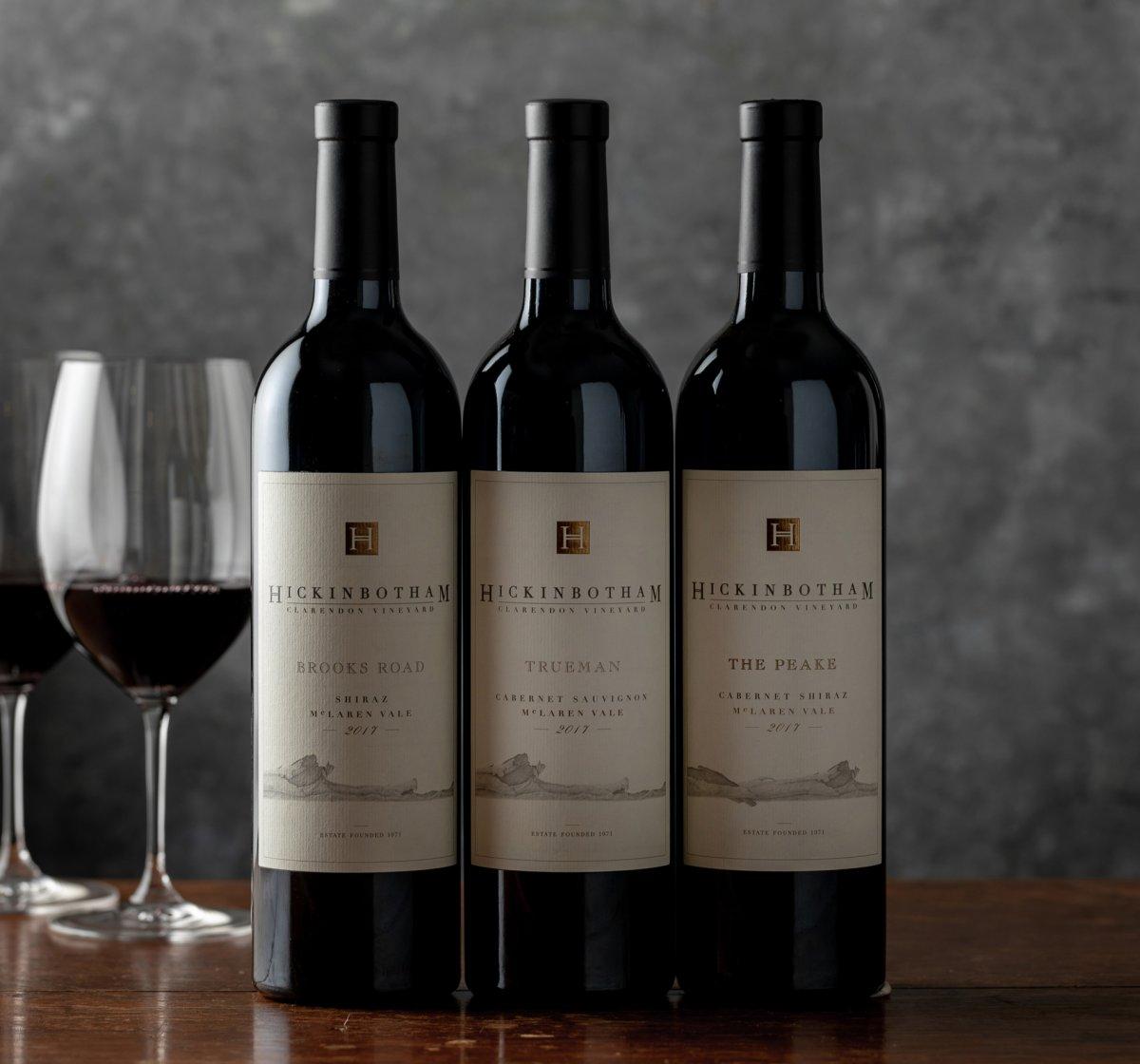 Hickinbotham Three Wines With Cork Finish Beauty Shot